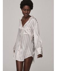 Asceno Milan Blush Stripe Oversized Silk Pyjama Shirt - Multicolour