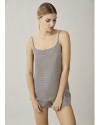 Asceno Venice Cream Crescent Silk Twill Pyjama Shorts - Multicolour