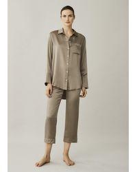 Asceno Antibes Brown Taupe Cropped Silk Pyjama Bottom