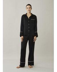 Asceno London Jet Black White Edged Silk Pyjama Bottom