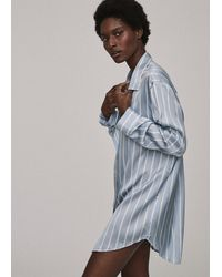 Asceno Milan Sky Stripe Oversized Pyjama Shirt - Blue