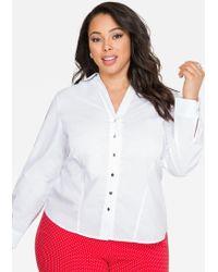 3bd423a1607 Ashley Stewart - V-neck Button Front Shirt - Lyst