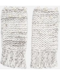 Ashley Stewart - Pearl Trim Half Gloves - Lyst