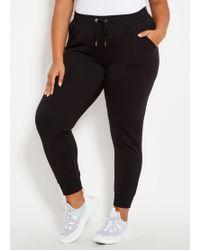Ashley Stewart Plus Size Bebe Sport Varsity Jogger - Black
