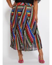 66ef200b1 Eliza J Pleated Abstract Jacquard Skirt in Blue - Lyst