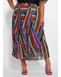 Ashley Stewart Plus Size Plissé Abstract Skirt - Multicolor