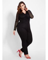 a828cbb76c51c Ashley Stewart - Plus Size Tall Lace Surplice Top Jumpsuit - Lyst