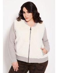 459c25c926b Lyst - Ashley Stewart Plus Size Faux Fur Sleeve Moto Jacket in Pink