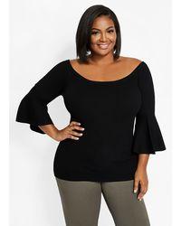 Ashley Stewart Plus Size Off-the-shoulder Flared Sleeve Sweater - Black