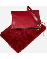 Ashley Stewart Faux Leather & Faux Fur Wristlet Duo - Red