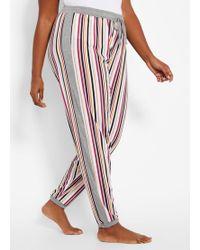 Ashley Stewart Plus Size Striped Knit Pajama Pant - White
