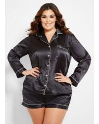 Ashley Stewart Plus Size Two Piece Satin Pajama Set - Black