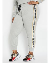 Ashley Stewart Plus Size Sequined Queen Jogger - Gray