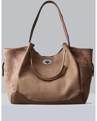 Ashley Stewart Sondra Roberts Squared Material Mix Shopper - Brown