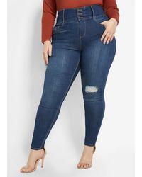 Ashley Stewart Plus Size Goddess Ripped Skinny Jean - Blue