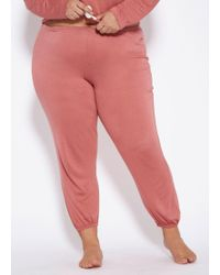 Ashley Stewart Plus Size Elastic Cuff Pajama Pant - Pink