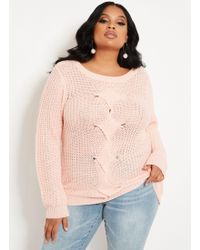 Ashley Stewart - Plus Size Cable Front Sweater - Lyst