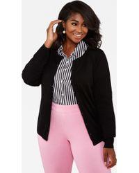 Ashley Stewart Plus Size Button Front Knit Cardigan Sweater - Black