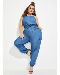Ashley Stewart Plus Size The Stacey Jumpsuit - Blue