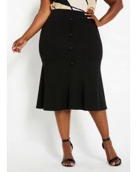 Ashley Stewart Plus Size Crepe Flounce Skirt - Black