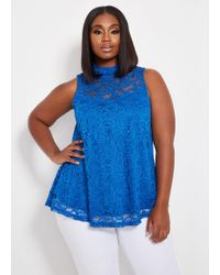 fe94413d9cd Ashley Stewart - Plus Size Sleeveless Lace Mock Neck Swing - Lyst