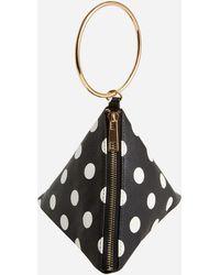 Ashley Stewart Polka Dot Faux Leather Pyramid Bag - Black