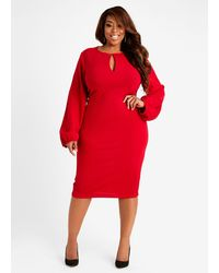 Ashley Stewart Keyhole Sheath Midi Dress - Red
