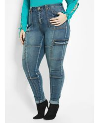 Ashley Stewart Plus Size Cargo Skinny Jean - Blue