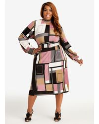Ashley Stewart Belted Plisse Geo Colorblock Dress - Multicolor