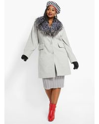 Ashley Stewart Plus Size Faux Fur Lapel Long Coat - Metallic