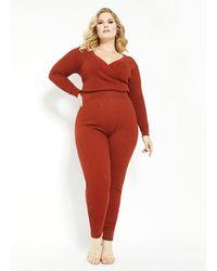 Ashley Stewart - Plus Size Faux Wrap Sweater Jumpsuit - Lyst
