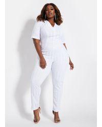 Ashley Stewart Plus Size Sequin Front Catsuit - White