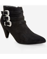 Ashley Stewart Buckle Wide-width Booties - Black