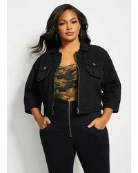 Ashley Stewart Plus Size Cropped Denim Jacket - Black