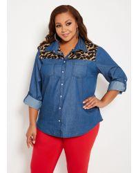 935c0712655 Ashley Stewart - Plus Size Denim Shirt With Animal Print - Lyst