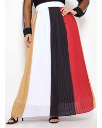 Ashley Stewart Plus Size Multicolor Colorblock Skirt - Blue