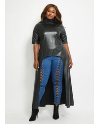 Ashley Stewart Plus Size Faux Leather Hi-low Duster - Black
