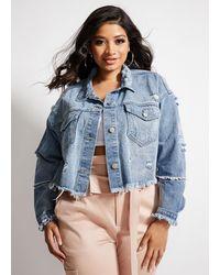 Ashley Stewart Plus Size La La Anthony Distressed Jacket - Blue