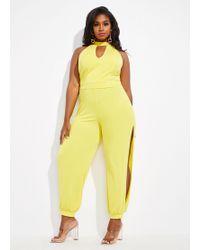 Ashley Stewart Plus Size The Malina Jumpsuit - Yellow
