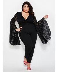 Ashley Stewart Plus Size Lace Bell Sleeve Jumpsuit - Black