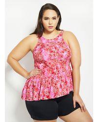 Ashley Stewart Plus Size Fit 4 U Floral Two-piece Swim Set - Pink