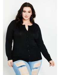 Ashley Stewart Plus Size Classic Knit Cardigan - Black