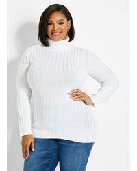 Ashley Stewart Plus Size Knit Turtleneck Sweater - White
