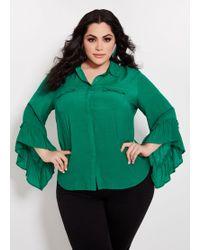 5eba3925444cb Ashley Stewart - Plus Size Button Ruffle Detail Shirt - Lyst