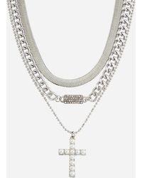 Ashley Stewart Plus Size Layered Cross Pendant Necklace - Metallic