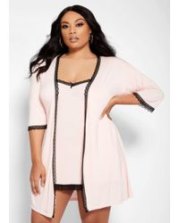 Ashley Stewart Plus Size Chemise And Robe Set - Pink
