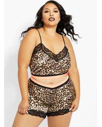 Ashley Stewart Plus Size Satin Leopard Lingerie Short Set - Brown