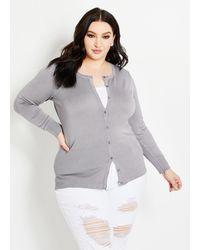 Ashley Stewart Plus Size Classic Knit Cardigan - Gray