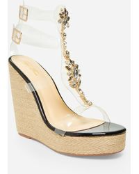 Ashley Stewart Jeweled Medium Width Wedges - Black