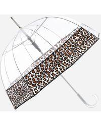 Ashley Stewart Totes Bubble Stick Umbrella With Leopard Trim - Multicolor